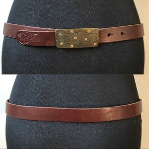 FOSSIL Brown leather floral rhinestone belt